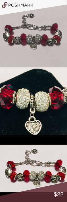 Red European Bracelet European charm bracelet, 100% hand made All charms interexchangable with any European charm Charms can be rearranged, some thread onto the chain and some slide onto the chain. Comes in aqua color jewelry box. duct information Product Dimensions4 x 1 x 1 inches Item Weight0.32 ounces Shipping Weight0.32 ounces NWOT Jewelry Bracelets