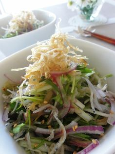 水菜とパリパリごぼうのじゃこサラダ。