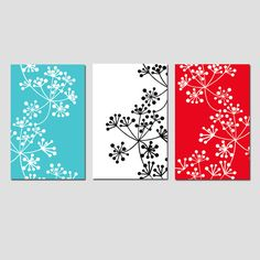 Modern Decor Botanical Trio - Set of Three 11x17 Coordinating Floral Prints - Choose Your Colors - Shown in Black, White, Red, Turquoise