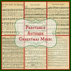Free printable antique Christmas music pages for Christmas projects, crafting, scrapooking, or just print and frame them! From Knick of Time.