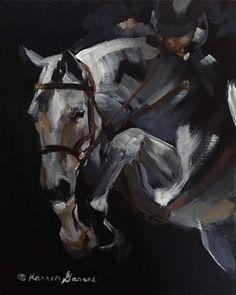 "8""x10"" acrylic horse art by Karren Garces. ""The Jump Off"""