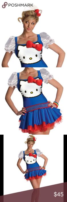 Costume Hello Kitty Halloween Dress Size- Medium New Hello Kitty Blue Classic Costume Hello Kitty Halloween Fancy Dress Size- MediumThis is a Size Medium  Hello Kitty Blue Classic Costume This is a 2 Pcs set This Hello Kitty costume for women includes a dress and headpiece. This Hello Kitty Blue Classic in adult Size Medium. This Hello Kitty Blue Classic is an officially licensed Hello Kitty costume. The red petticoat is sold separately from this cute Hello Kitty costume. Other