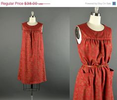 15% OFF Vintage 1960s Dress / cotton day dress / 60s Dress / rustic red cotton day dress on Etsy, $32.30