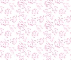 Happy Butterflies pink fabric by samvanvoorst on Spoonflower - custom fabric