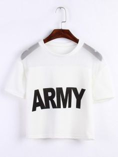 ARMY Letters Printed Crop Top Casual Short-Sleeved Net Yarn Stitching Exposed Navel Short T-shirt : ARMY Letters Printed Crop Top Casual Short-Sleeved Net Yarn Stitching Exposed Navel Short T-shirt Cropped Tops, Cute Crop Tops, Kpop Fashion Outfits, Casual Outfits, Girl Outfits, Crop Top Sweater, Sweater Shirt, Bauchfreier Pullover, Short T Shirt