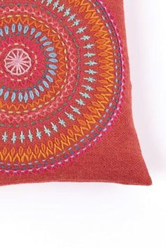 Mandala Cushion · Extract from Big Embroidery by Nancy Nicholson · How To Make A Stitched Cushion Handmade Embroidery Designs, Embroidery Neck Designs, Hand Embroidery Videos, Hand Work Embroidery, Creative Embroidery, Simple Embroidery, Hand Embroidery Stitches, Embroidery Hoop Art, Indian Embroidery
