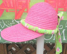 Womans Hat Hot Pink and Green With Dragonflies by BuffaloDesigns