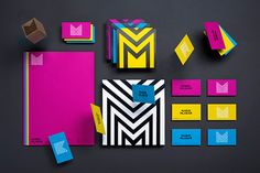 """One of the main characteristics that make this design successful are the colors that Mario Mlakar uses. The bright pink, blue, and yellow are consistently used in the entire stationery. The geometric design of the """"M""""also functions very well because it does not compete with the colors."""