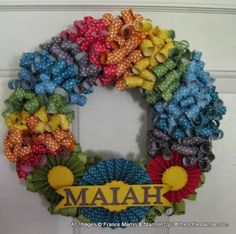 Rainbow Curly Wreath bright colors  Frenchiestamps.com