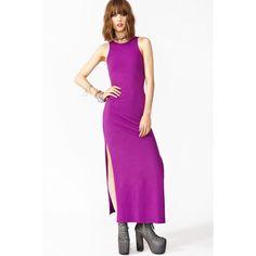 Purple Maxi Dress With Side Slit