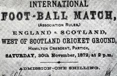 first ever football match 1872 scotland england ticket stub