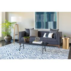 Jeff Lewis Nicholas Flat Denim 1 ft. x 1 ft. Area Rug Sample-504496 - The Home…
