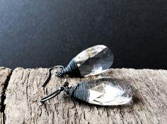 Crystal White Drop #Earrings / #Swarovski Earrings / by DevikaBox