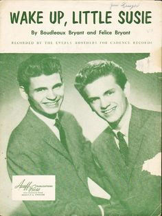 Wake Up Little Susie 1957 EVERLY BROTHERS Sheet Music !