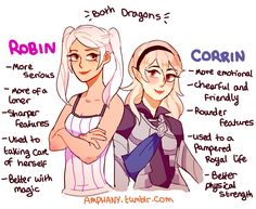 """amphany: """"HCs for some of the differences between Robin and Corrin :P """""""