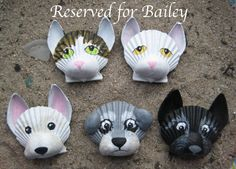 Seashell dog & cat magnets reserved for Bailey.
