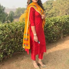 Reddish Plain Yellow Phulkari Pant Style Suit - Patiala Suits - Suits and Dress material - Womenswear