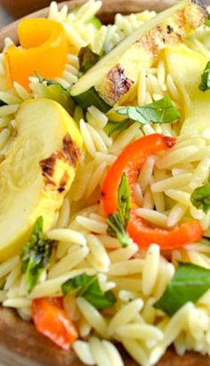 Grilled Veggie Orzo Pasta Salad