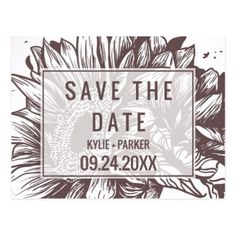 #savethedate #postcards - #Rustic Sunflower Save the Date Postcard