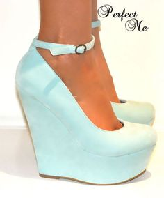 Ladies Mint Green High Wedge Heels Platform Shoe Sandal Ankle Strappy Court #mint #green #wedges www.loveitsomuch.com