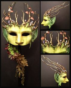 GreenWoman by inkvine -Every thing is hand made, the mask and leaves are paper, the branches are wire wrapped in florists tape then built up with paper clay, mushrooms are poly clay.