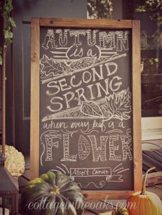 autumn front porch fall decor, outdoor living, porches, seasonal holiday decor, Autumn chalkboard art on the front porch falldecor Chalkboard Decor, Chalkboard Designs, Magnetic Chalkboard, Chalkboard Quotes, Autumn Garden, Autumn Fall, Hello Autumn, Autumn Leaves, Happy Fall Y'all