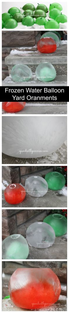 This is SO FUN!  Frozen water balloons make awesome yard ornaments...  beautiful frozen globes with unique designs inside!  Leave them outside to freeze for a couple days!