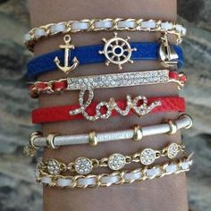 Super cute bracelet stack. This website has a ton of cute bracelets!!
