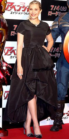 Last Night's Look: Love It or Leave It? Vote Now! | ELIZABETH OLSEN  | in a black Dior high-low hemline gown (with shoes and jewels by the brand) at the Avengers: Age of Ultron premiere in Tokyo.