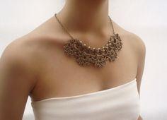 Collar boda dorado, Collar novia dorado, Boda collar perlas, Collar nupcial, Collar Victoriano, Gargantilla boda de DIDIcrochet en Etsy