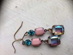 Pink and blue zircon vintage Swarovski stones with aurora borealis octagon $28