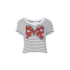 Disney Women's Stripe Minnie Tee (65 BRL) ❤ liked on Polyvore featuring tops, t-shirts, blusas, stripe t shirt, disney tops, striped top, striped tee and disney t shirts