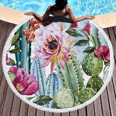 Sunny Tropical Plant Flamingo Printed Round Beach Towel Microfiber With Tassel Bath Mat Large Washable 150cm Picnic Yoga Mat 90011 Home