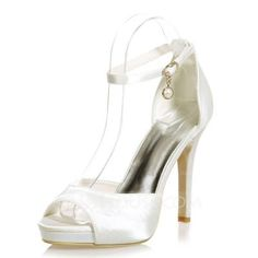 bcbeb7ab6 Women's Satin Stiletto Heel Peep Toe Platform Sandals With Buckle Imitation  Pearl (047068267) Stilettos