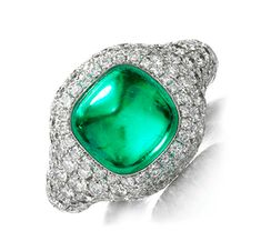 FD Gallery | Cabochon Emerald and Diamond Ring