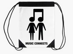 """Music Connects"" Drawstring Bags by bubbliciousart 