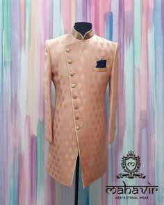 Raise the temperature in this exclusive designer sherwani. Visit our store in Chandni Chowk . Wedding Kurta For Men, Wedding Dresses Men Indian, Wedding Outfits For Groom, Wedding Dress Men, Nigerian Men Fashion, Indian Men Fashion, Moda Indiana, Sangeet Outfit, Sherwani Groom