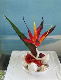 Bird of Paradise Wedding Cake Topper~ Seashells~ by CeShoreTreasures:)))