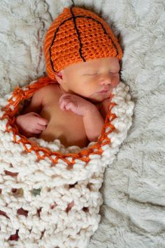 Basketball net cocoon bunting set. Crochet basketball hat for baby.  Handmade and available on Etsy: https://www.etsy.com/listing/157600674/basketball-crochet-hat-for-baby-with