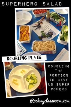 Making superhero salad whilst learning to double. Could also choose healthiest food to make superheroes strong - PD link Early Years Maths, Year 1 Maths, Early Math, Early Learning, Maths Eyfs, Eyfs Activities, Numeracy, Children Activities, Superhero Classroom