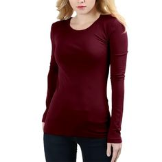 a47c878c1e1b1 Belle Donne - T Shirt For Women Round Neck Long Sleeves TShirts Plus or  Regular - Dark Burgundy Medium