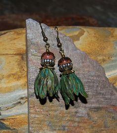 Green Brass Flower Dangle Earrings by solagratiadesigns on Etsy, $15.00
