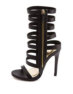 Zip-Up Strappy Caged Stiletto Heels: Charlotte Russe Fab Shoes, Crazy Shoes, Stiletto Pumps, High Heels Stilettos, Heeled Boots, Shoe Boots, Fashion Heels, Women's Fashion, Shoe Storage