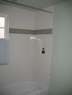 Classic White Subway Tile With Glass Tile Border Tub Surround