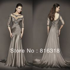 Free Shipping New Arrival Hot Sale!Mermaid Pleated Beaded Low Back With Sleeve Long Sexy Chiffon Evening Dresses Formal Dress $158.00