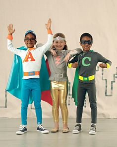 DIY Superhero costumes, good for Halloween ... or anytime around our house...Martha has all the letters of the alphabet!!