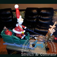 Stretch & Company Balloon Art Santa's Sleigh Delivery www.stretchc.com Balloons And More, The Balloon, Balloon Company, Christmas Balloons, Balloon Delivery, Balloon Animals, Santa Sleigh, Balloon Decorations, Christmas Ideas