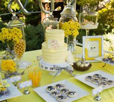 Yellow and Gray Wedding Dessert Table via Kara's Party Ideas | Kara'sPartyIdeas.com #Yellow #Gray #Wedding #Reception #Party #Planning #Idea (12)