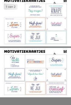 motivatiekaartjes School Info, Back To School, Coaching, Leader In Me, School Hacks, School Organization, Positive Mindset, Quotes For Kids, Growth Mindset