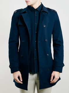 NAVY DOUBLE BREASTED MAC - Blue
